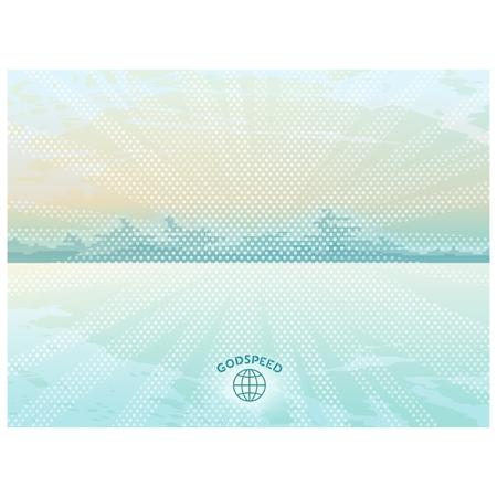 primitivism: Sunny landscape with mountains on the horizon, technique primitivism  Vector eps 10