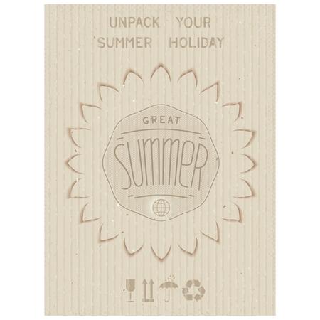 uitpakken: Conceptuele poster - Pak uw zomervakantie Kartonnen textuur vector eps 10