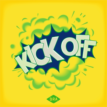 kick off: Kick off in Brazil. Comic speech bubble with realistic smoke and abbreviation BRA. Vector eps 10 Illustration