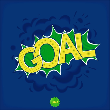 Comic bang with lettering - Goal in color of national flag of Brazil. Pop art speech bubble. Vector eps 10 Illustration