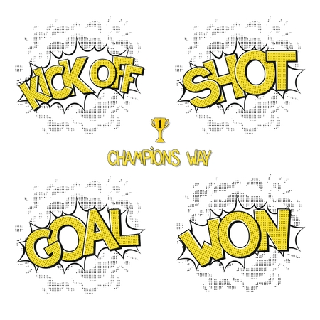 kaboom: Collection classic comic bubbles - way champions in football. Kick off, shot, goal, won. Vector eps 10