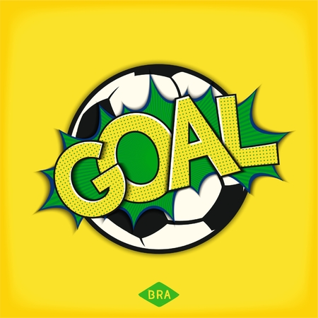 Goal comic speech bubble. Pop art speech bubble with soccer ball and lettering comic style. Vector eps 10