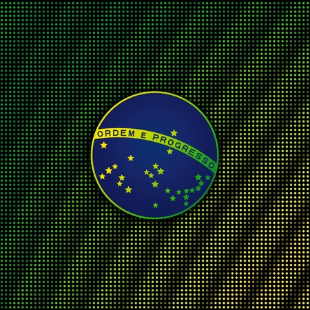 motto: The main element blue disc of flag Brazil with national motto on digital background with shimmering  yellow - green.