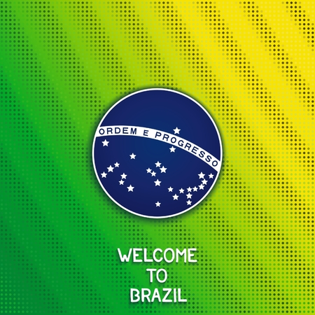 Element blue disc of flag Brazil on green background with shimmering dots.