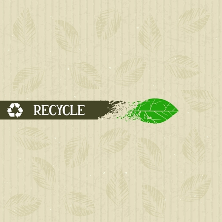 Recycle, conceptual ribbon smoothly into leaf on cardboard background.