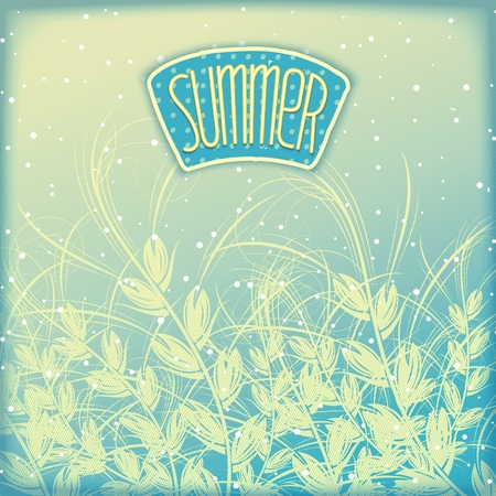 Summer airy blue retro background with grass ears of corn and label
