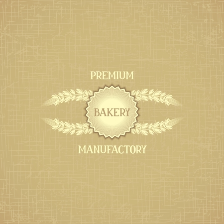 Card design for bakery with ears bread and design emblem on retro background material gunny  Vector eps 10 Vector