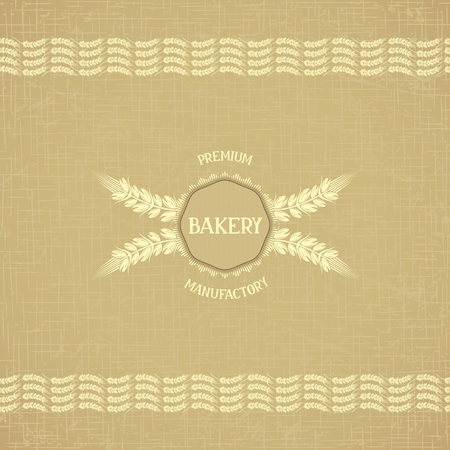 Background template for bakery with border of ears on retro background material gunny  Vector eps 10