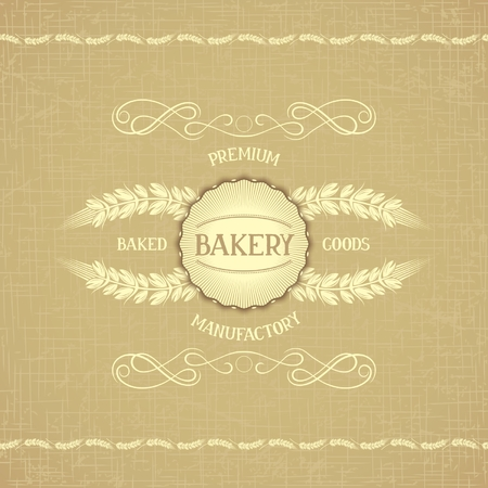 Retro template for bakery with border of ears, Victorian flourishes and emblem on organic background of hopsack  Vector eps 10 Vector