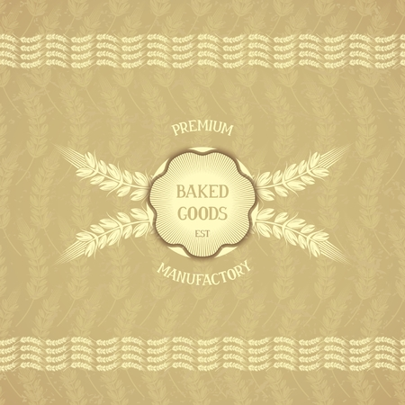 baked  goods: Baked goods - emblem design in retro style on background with ears of corn  Vector eps 10
