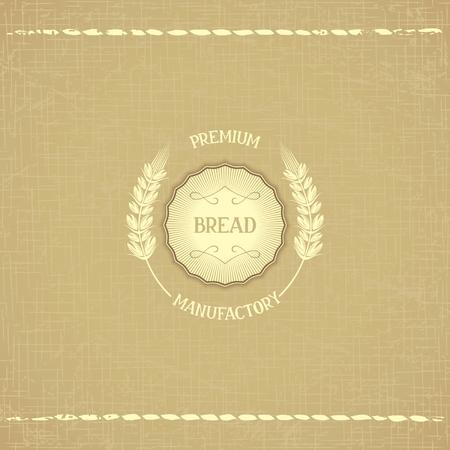 Emblem design - Premium manufactury of bread, in retro style on organic background of hopsack Vector eps 10 Vektorové ilustrace