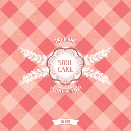 bakery products: Soul cake  Vintage design emblem for confectionery on background into the cell  Vector eps 10  Illustration