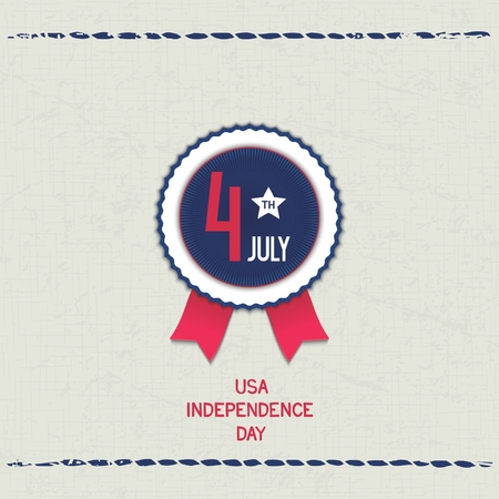 u  s: Vintage card with fabric texture and emblem for U S  Independence Day  Vector eps 10