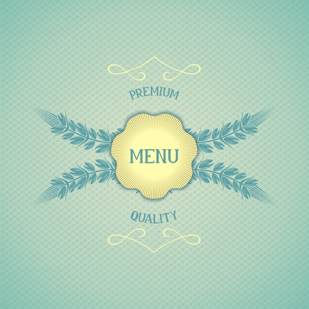 whorl: Retro design covers for restaurant menu with emblem and ears  Vector eps 10