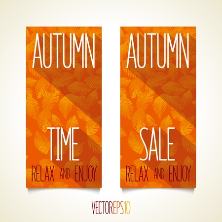vegetative: Autumn flat style flyers with vegetative pattern   Illustration