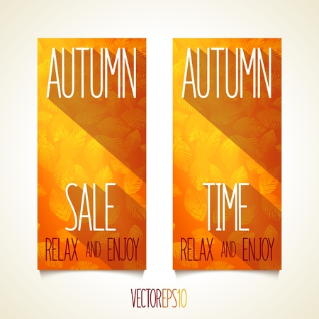Autumn flat style flyers with effect illumination