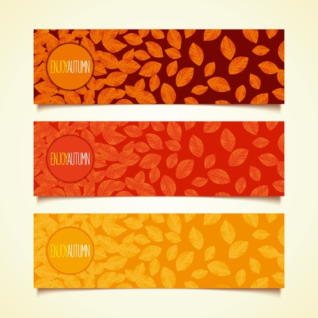 defoliation: Autumn defoliation  Set of horizontal banners with button and realistic foliage  Flat design  Illustration