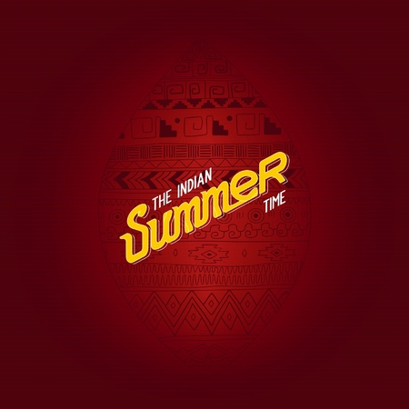 indian summer: Indian Summer design labels with ethnic ornament in the shape of leaf. Illustration