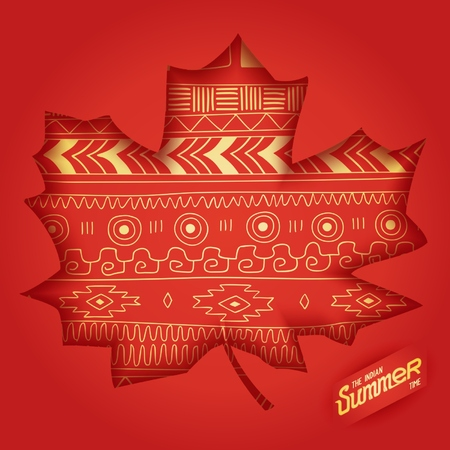 The indian summer design 3D engraving maple leaf with ethnic pattern of American Indians.  Illustration
