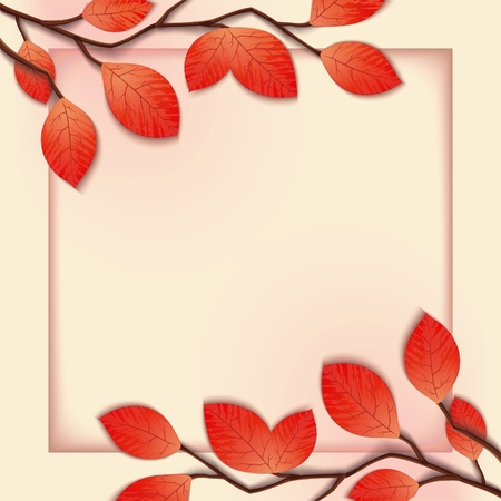 Delicate pink frame template with tree branches.