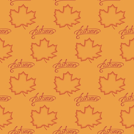 Seamless pattern of maple leaves with calligraphy lettering Autumn.   Vector