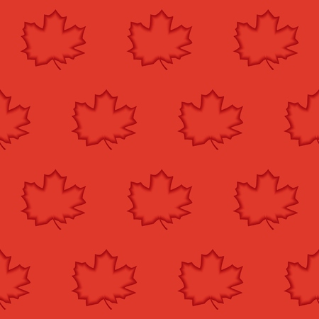 Seamless pattern of maple leaves with 3d effect engraving.   Vector