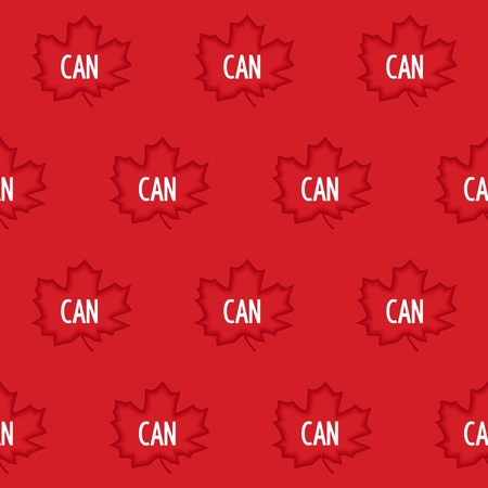 Seamless Pattern Of Red Maple Leaves And Abbreviation Canada