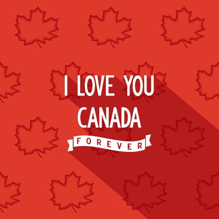 i love canada: Flat quote poster design I love you Canada forever.