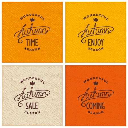 on coming: Set of vintage autumn designs on grunge textured backdrop. Enjoy, coming, time, sale.