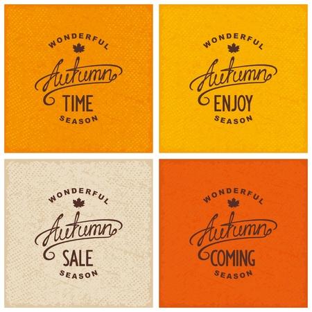 Set of vintage autumn designs on grunge textured backdrop. Enjoy, coming, time, sale.