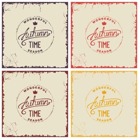Four grunge vintage autumn cards on shabby backdrop.