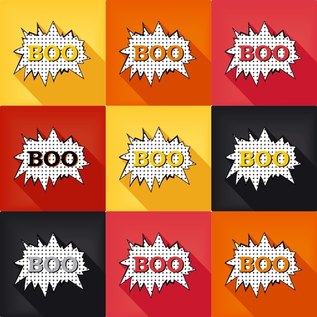 party poppers: Flat pop art speech bubble - BOO, set colored design elements.