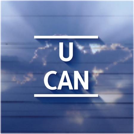 tu puedes: Usted puede - inscripci�n volumen 3D en el fondo del cielo. Vectores
