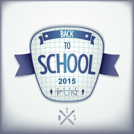 Back to school, realistic badge design with ribbon on background cell notepad.