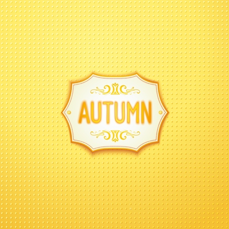 Autumn 3D badge design with blurred realistic inscription on light textured  backdrop.  Illustration