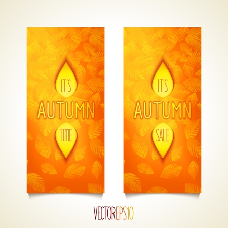 Autumn - design sunny bright flyers with effect illumination glare and soft fuzzy shadow. Illustration