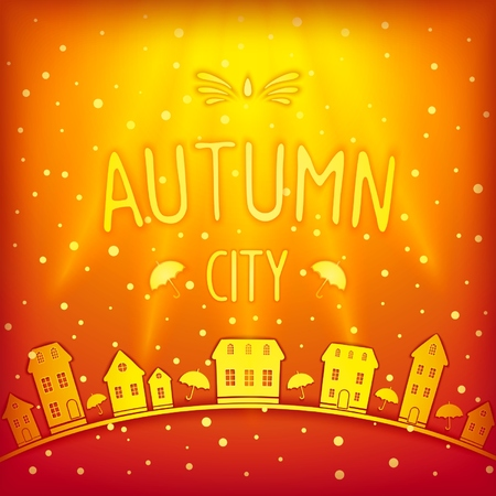 Sunny bright autumn city with rays, glare and 3D inscription with soft fuzzy shadow. Vector