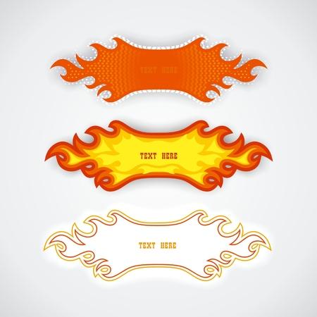 Set of fiery speech bubbles element design. Vector