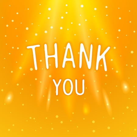 Thank you - magical design inscriptions in the warm sparkling background.