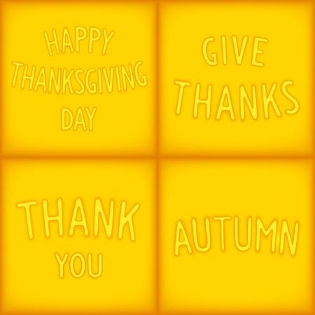 gratitudine: Set lettering progetta frasi per il giorno del Ringraziamento e gratitudine. Vettoriali