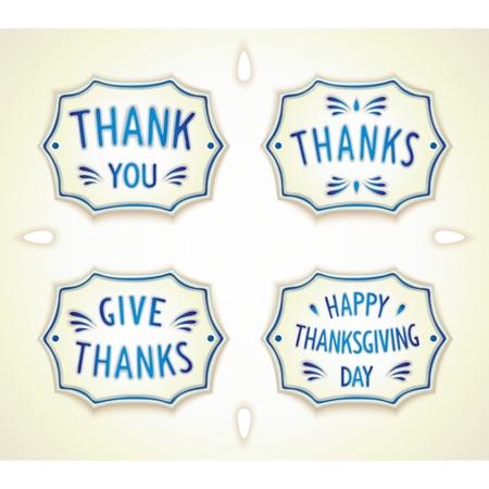 gratitudine: Gratitudine sticker retr� in ceramica stile Gzhel. Vettoriali
