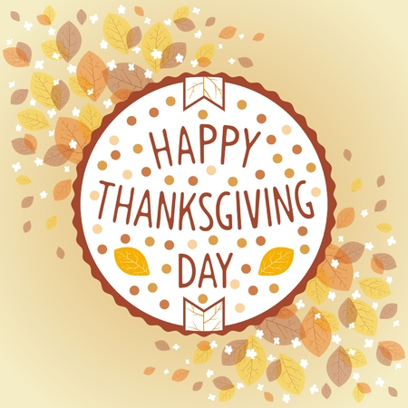 Thanksgiving day retro label on background of autumn leaf fall.  Vector