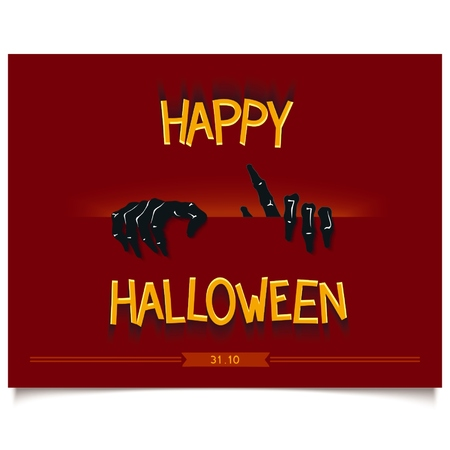 penetration: Happy Halloween poster with zombie hands from the slit and 3D lettering.