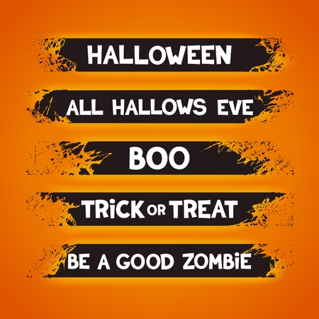 Grunge ribbons set with slogans for halloween holidays. Vector eps 10 Vector