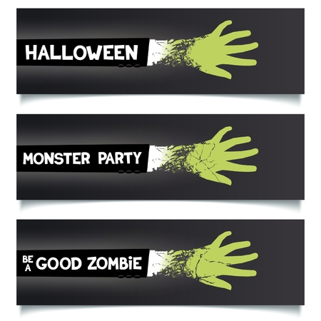 Fun Halloween ribbons set. Green hand zombie monster in a suit with slogans for web and printing. Vector eps 10 Vector