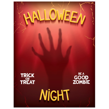 Halloween night poster with silhouette of terrible phantom hand on background light rays. Vector eps 10