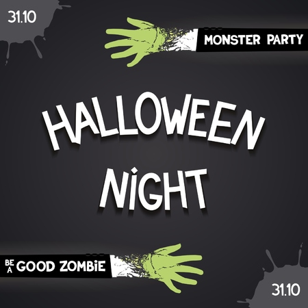 31: Halloween night party - card with 3D inscription and zombie hands. Vector eps 10
