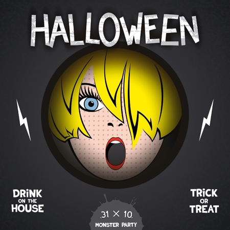 peephole: Halloween horror movie poster  with pop-art girl in the center and volumetric labels. Illustration