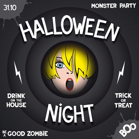 Halloween night. Retro poster in style of horror movie with pop-art girl in the center and volumetric labels. Vector
