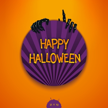 scary story: Colorful round label for Halloween with creative scary story. Vector eps 10